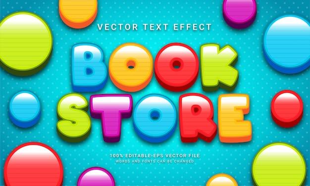 Bearbeitbarer texteffekt im buchladen mit mehreren farbthemen