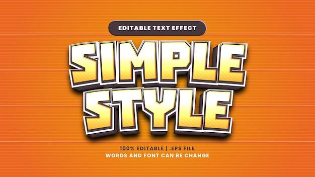 Bearbeitbarer texteffekt im einfachen stil im modernen 3d-stil