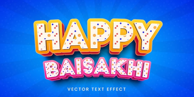 Bearbeitbarer texteffekt im fröhlichen baisakhi-stil
