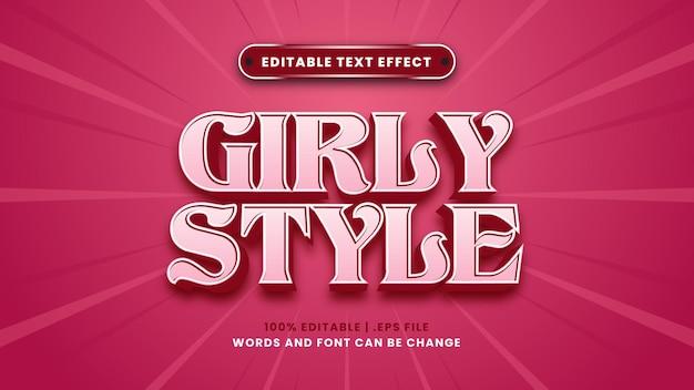 Bearbeitbarer texteffekt im girly-stil im modernen 3d-stil