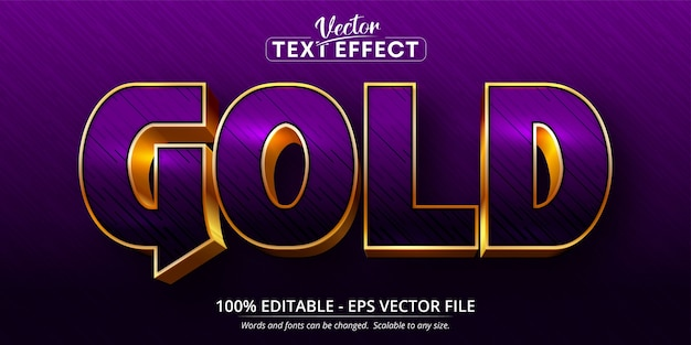 Bearbeitbarer texteffekt im glänzenden stil des lila und goldenen textes