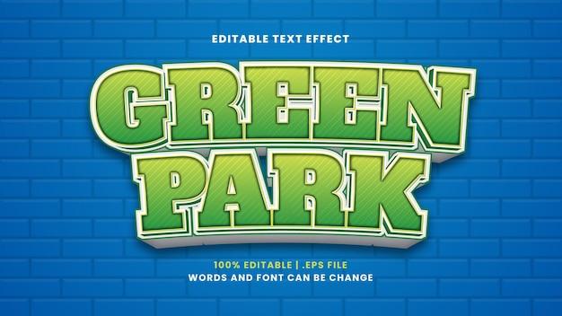 Bearbeitbarer texteffekt im grünen park im modernen 3d-stil