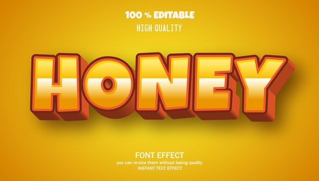 Bearbeitbarer texteffekt im honig-cartoon-stil