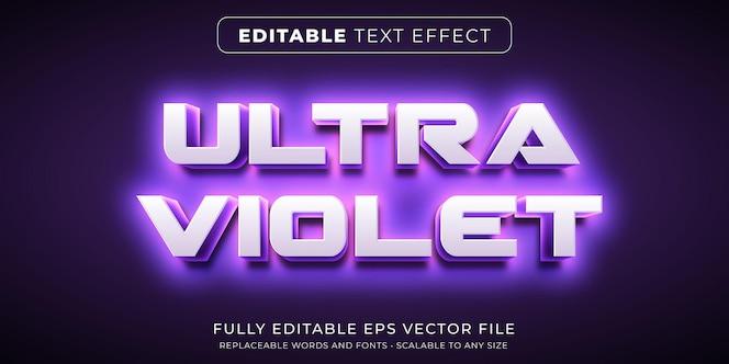 Bearbeitbarer texteffekt im intensiven ultravioletten neonstil