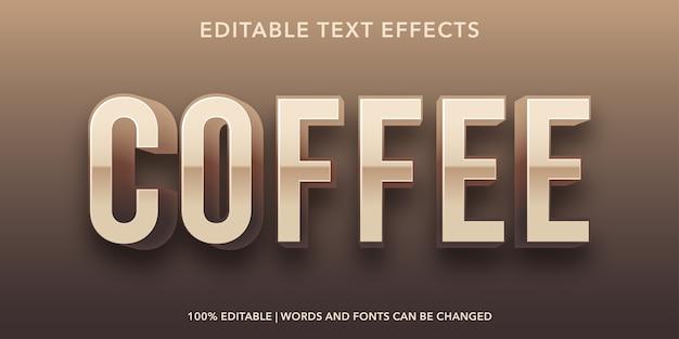 Bearbeitbarer texteffekt im kaffee-text-3d-stil