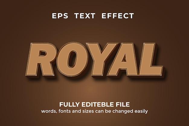 Bearbeitbarer texteffekt im königlichen 3d-stil premium-vektor