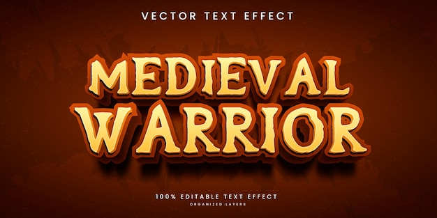 Bearbeitbarer texteffekt im mittelalterlichen kriegerstil-premium-vektor