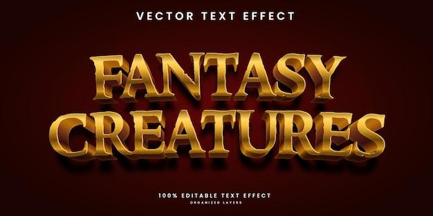 Bearbeitbarer texteffekt im premium-vektor im fantasy-kreaturen-stil