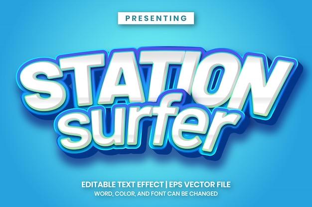 Bearbeitbarer texteffekt im stil eines stationssurfer-spielelogos