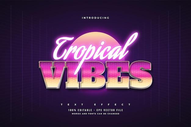 Bearbeitbarer texteffekt im tropischen vibes-stil mit buntem und leuchtendem neon-effekt
