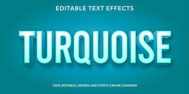 Bearbeitbarer texteffekt im türkis-power-3d-stil