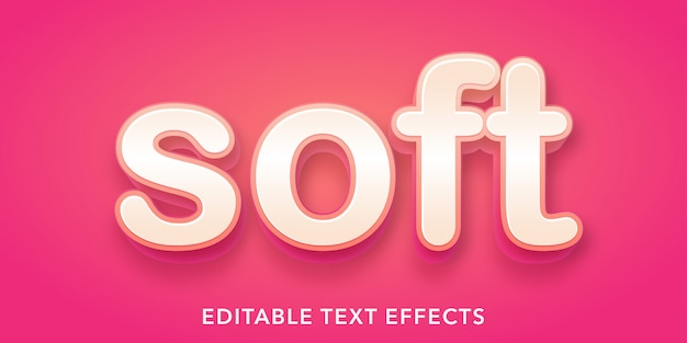 Bearbeitbarer texteffekt im weichen 3d-stil
