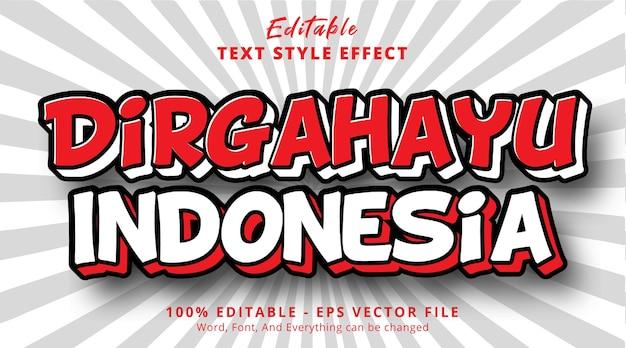 Bearbeitbarer texteffekt, indonesien-unabhängigkeitstag auf comic-effekt