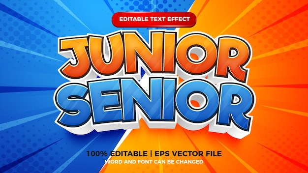 Bearbeitbarer texteffekt - junior vs. senior cartoon-stil 3d-vorlage