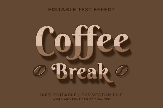 Bearbeitbarer texteffekt kaffeefarbe textstil premium-vektor