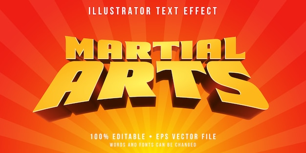 Bearbeitbarer texteffekt - kampfkunst-animationsstil