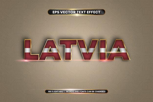 Bearbeitbarer texteffekt, lettisches wort mit nationalflagge