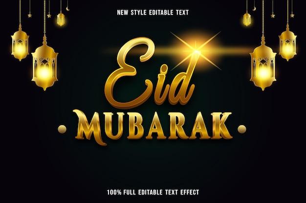 Bearbeitbarer texteffekt luxus eid mubarak farbe gold