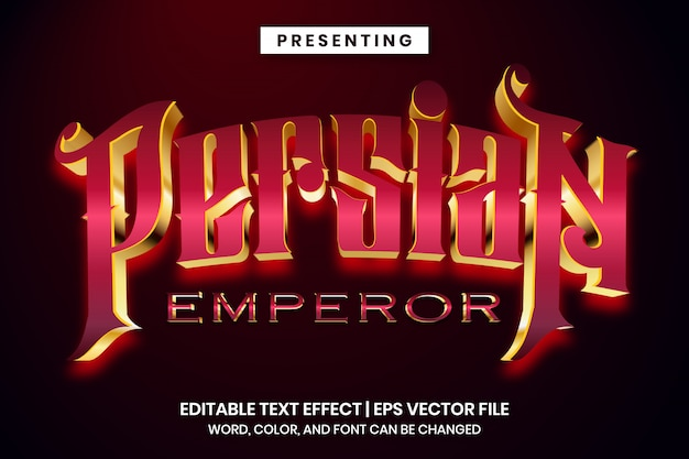 Bearbeitbarer texteffekt - luxusspielstil des persischen kaisers