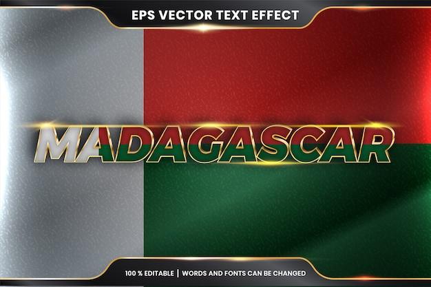 Bearbeitbarer texteffekt - madagaskar mit seiner nationalflagge
