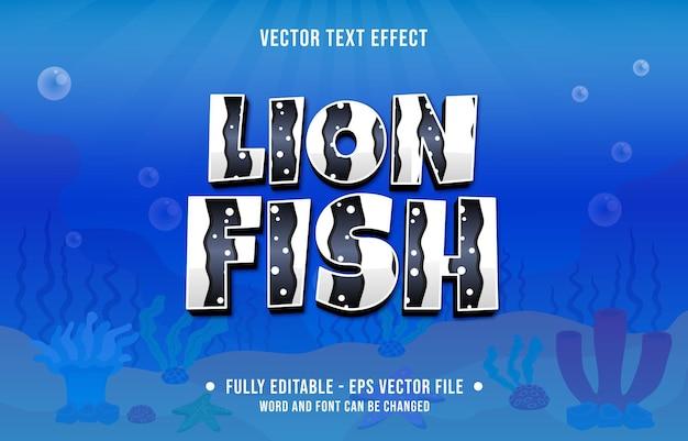Bearbeitbarer texteffekt-meer-ozean-fisch-muster-design-stil für digitale und printmedien-vorlage