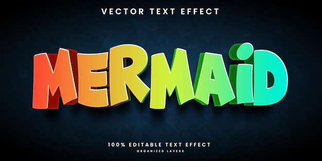 Bearbeitbarer texteffekt meerjungfrau-stil