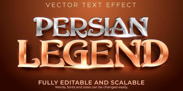 Bearbeitbarer texteffekt, metallischer legenden-textstil