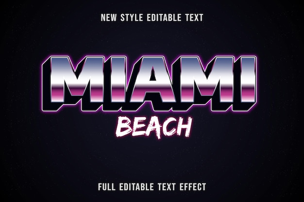Bearbeitbarer texteffekt miami beach farbe blau weiß und lila