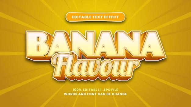 Bearbeitbarer texteffekt mit bananengeschmack im modernen 3d-stil