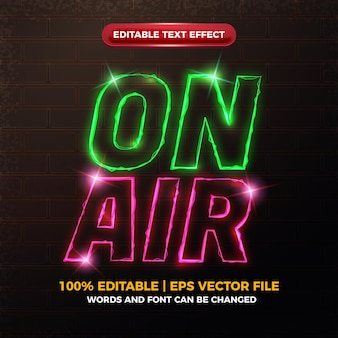 Bearbeitbarer texteffekt mit elektrischem neon auf luft