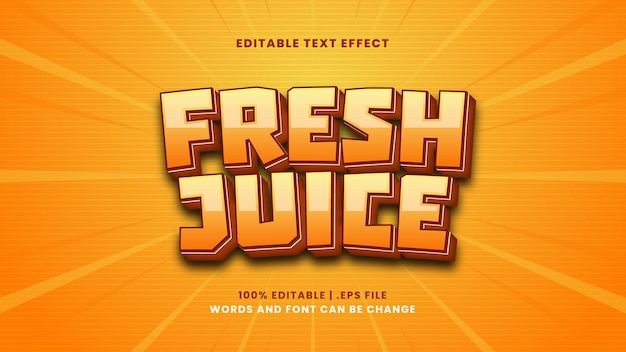 Bearbeitbarer texteffekt mit frischem saft im modernen 3d-stil