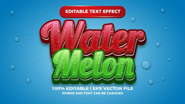Bearbeitbarer texteffekt mit frischer wassermelone