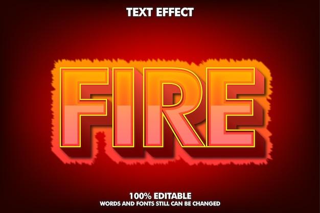 Bearbeitbarer texteffekt mit heißem feuer für würziges designkonzept