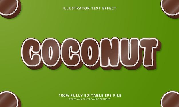 Bearbeitbarer texteffekt mit kokosnuss