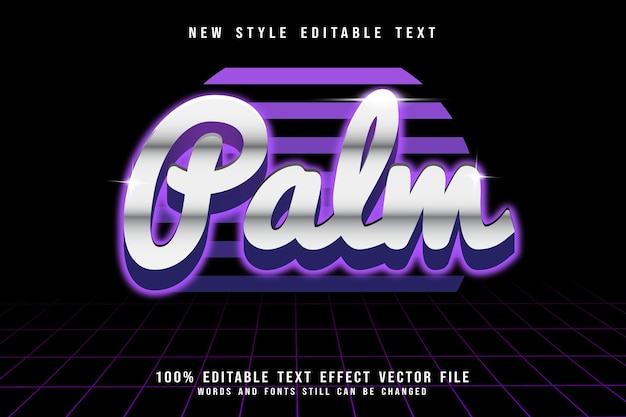 Bearbeitbarer texteffekt mit palmenprägung im retro-stil