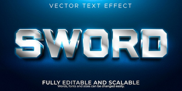 Bearbeitbarer texteffekt mit schwert, metallic- und gaming-textstil