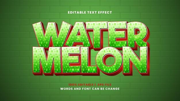 Bearbeitbarer texteffekt mit wassermelone im modernen 3d-stil