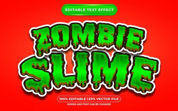 Bearbeitbarer texteffekt mit zombieschleim, der für halloween-events geeignet ist