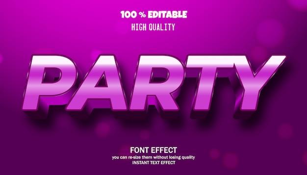 Bearbeitbarer texteffekt, modern gestaltete 3d-trendschrift, party, nachtclubstil