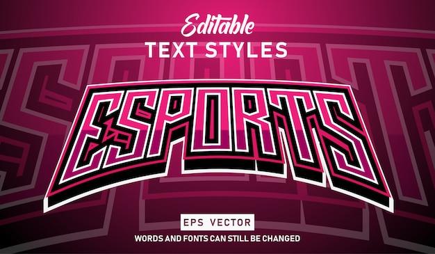 Bearbeitbarer texteffekt moderner e-sport