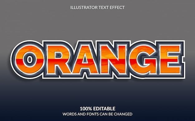 Bearbeitbarer texteffekt, moderner orangefarbener textstil für videospiel und esport