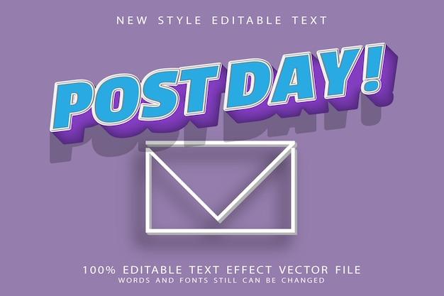 Bearbeitbarer texteffekt nach dem tag prägen den modernen stil