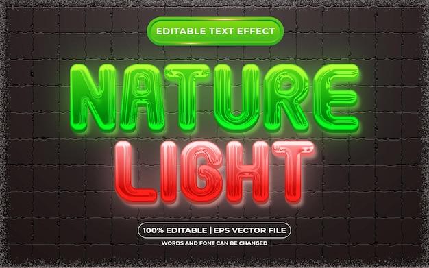 Bearbeitbarer texteffekt-naturlicht-vorlagenstil
