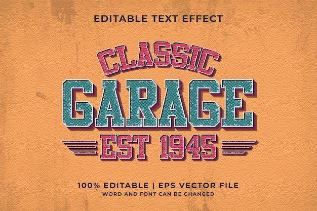 Bearbeitbarer texteffekt - premium-vektor der klassischen garagenvorlage im retro-stil Premium Vektoren