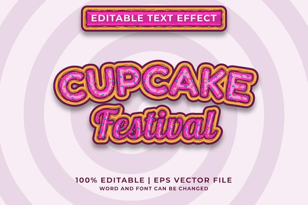 Bearbeitbarer texteffekt - premium-vektor im cupcake-vorlagenstil