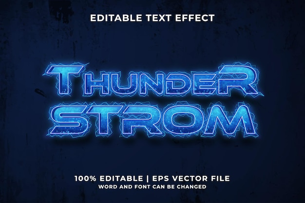 Bearbeitbarer texteffekt - premium-vektor im thunder storm-vorlagenstil