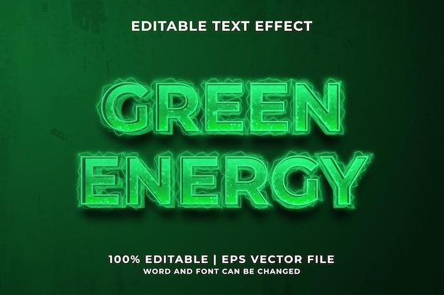 Bearbeitbarer texteffekt - premium-vektor im vorlagenstil der grünen energie