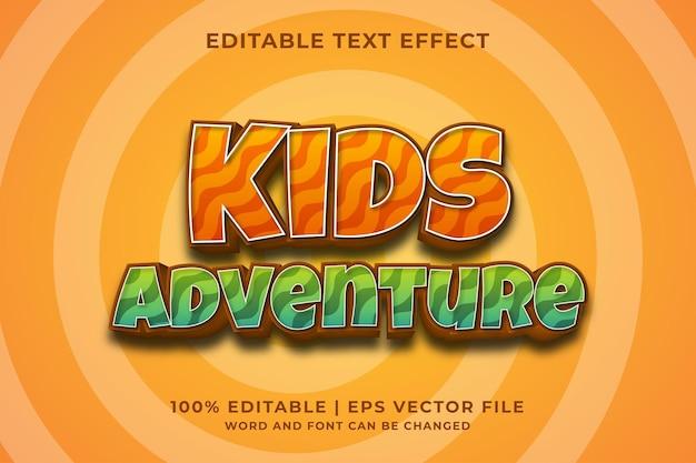 Bearbeitbarer texteffekt - premium-vektor im vorlagenstil für kinderabenteuer