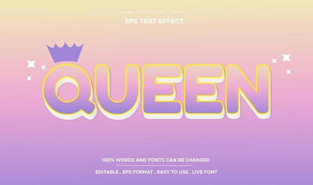 Bearbeitbarer texteffekt-queen-stil