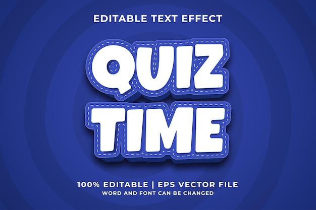Bearbeitbarer texteffekt - quiz time 3d-vorlagenstil premium-vektor